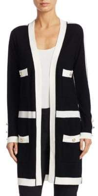 Edward Achour Two-Tone Mid Wool Cardigan