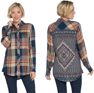 Tolani Collection Long-Sleeve Button Front Plaid Tunic