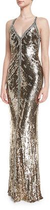 Jenny Packham Sequined Halter V-Neck Gown, Black/Gold $6,475 thestylecure.com