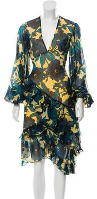 Caroline Constas Silk Printed Dress Yellow Silk Printed Dress