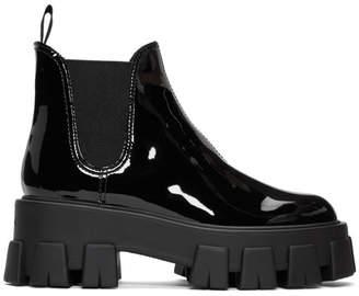 Prada Black Patent Platform Ankle Boots