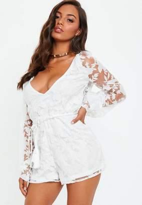 Missguided Black Mesh Flare Long Sleeve Bardot Romper