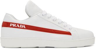 Prada White Red Band Sneakers