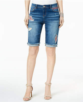 INC International Concepts I.n.c. Curvy-Fit Ripped Denim Bermuda Shorts, Created for Macy's