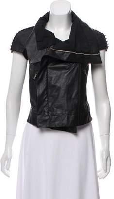 Rick Owens Leather Cap Sleeve Jacket