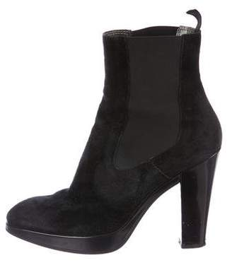 Hogan Suede Round-Toe Ankle Boots