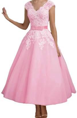 QiJunGe 2018 Tea Length Lace V Neck Bridal Gowns Vintage Bride Wedding Dresses US