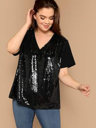 Shein Plus V Neck Sequin Patched Top