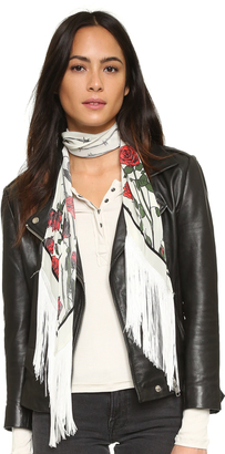 Rockins Classic Skinny Fringed Roses Silk Scarf $290 thestylecure.com