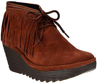 Fly London Suede Wedge Fringe Ankle Boots- Yank