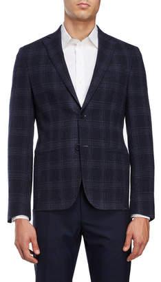DKNY Navy & Charcoal Plaid Sport Coat