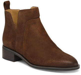 Pull On Leather Ankle Booties