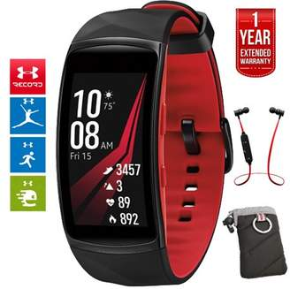 Samsung Gear Fit2 Pro Fitness Smartwatch - Red, Small (SM-R365NZRNXAR) + Fusion Bluetooth Headphones + Gear Black Jacket Case + 1 Year Extended Warranty
