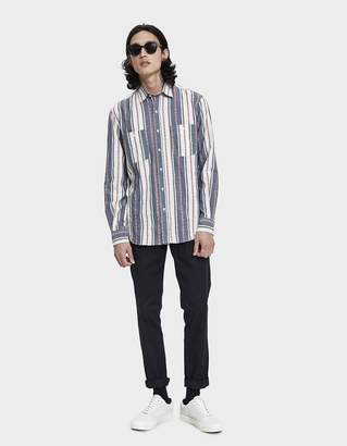 Gitman Brothers Jacquard Stripe Button Up Shirt in White