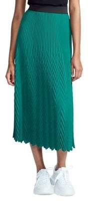 Maje Chevron Pleated Skirt