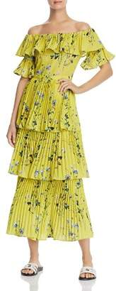 Aqua Pleated Tiered Floral Maxi Dress - 100% Exclusive