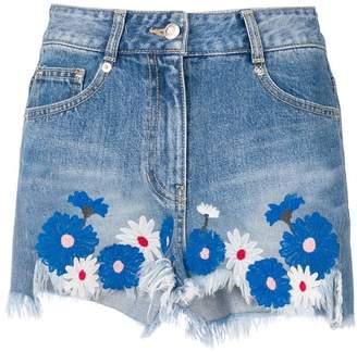 Sjyp floral embroidered denim shorts
