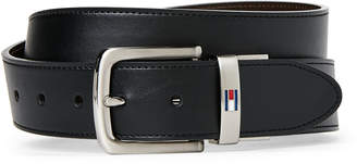 Tommy Hilfiger Black & Brown Logo Keeper Reversible Belt