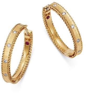 Roberto Coin 18K Yellow Gold Diamond Princess Diamond Hoop Earrings