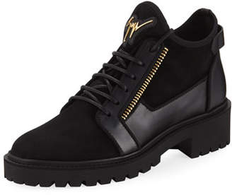 Giuseppe Zanotti Mixed-Media Hiker Ankle Boots