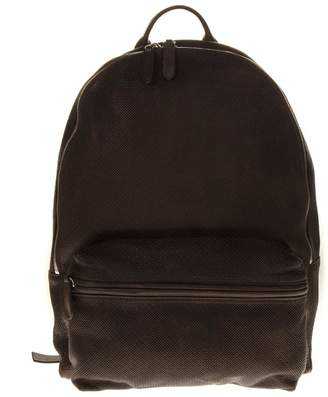 Eleventy Dark Brown Perforated Leather Backpack