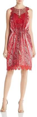 Elie Tahari Womens McKenna Metallic Silk Casual Dress Red