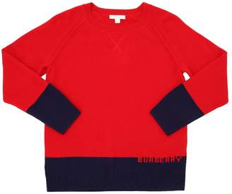 Burberry Logo Intarsia Cashmere Knit Sweater
