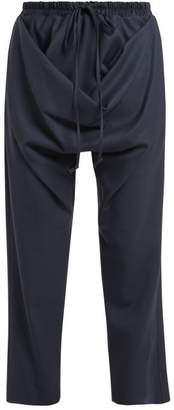 Vivienne Westwood Serge Tilke Draped Front Wool Trousers - Womens - Blue