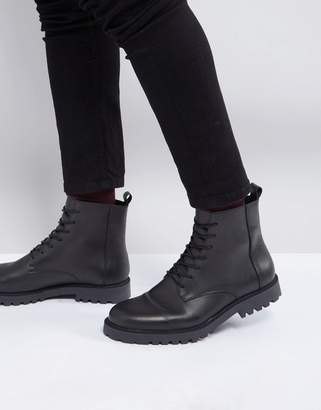 Zign Shoes Leather Lace Up Boots In Black