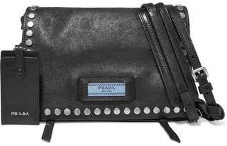 Prada Etiquette Small Studded Textured-leather Shoulder Bag - Black