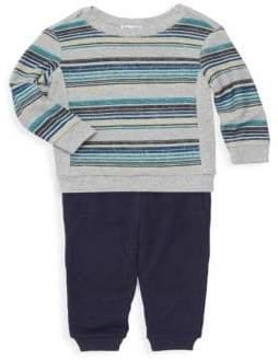Splendid (スプレンディッド) - Splendid Splendid Baby Boy's Reversible Striped Sweatshirt& Sweatpants Two-Piece Set - Light Grey Heather - Size 3-6 Months