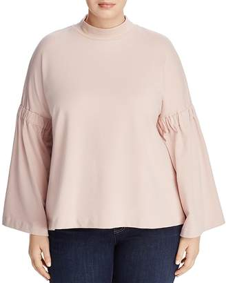 VINCE CAMUTO Plus Bell-Sleeve Mock-Neck Top
