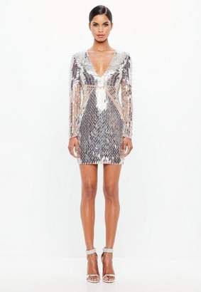 Missguided Silver Embellished Plunge Mini Dress