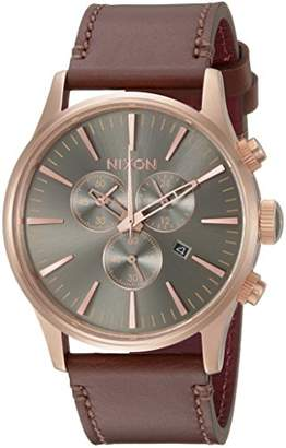 Nixon Men's Sentry Chrono Leather Japanese-Quartz Watch with Stainless-Steel Strap