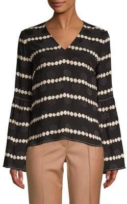 Derek Lam Printed V-Neck Silk Blouse