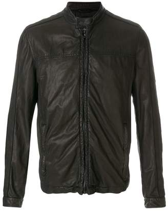 Drome band collar leather jacket