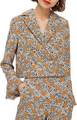 Topshop Leopard Spot Frill Jacket