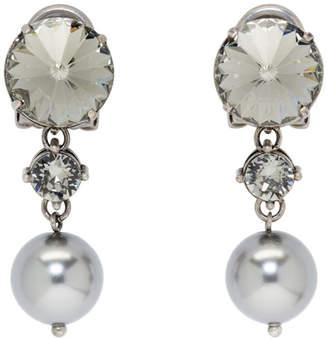 Miu Miu Gunmetal Crystal and Pearl Clip-On Earrings