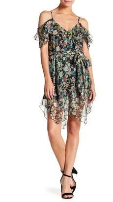 KENDALL + KYLIE Kendall & Kylie Cold Shoulder Floral Wrap Dress
