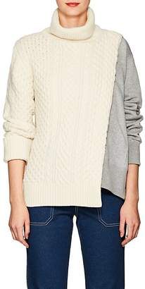 Sacai Women's Cable-Knit & Terry Turtleneck Sweater
