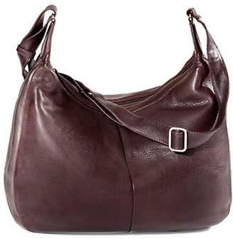 DEREK ALEXANDER Large Double Top Zip Leather Hobo Bag