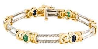 14K Ruby, Sapphire & Emerald Bracelet