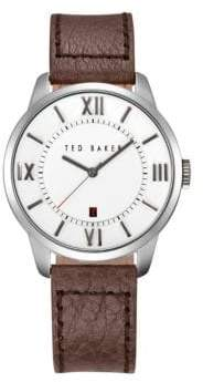 Ted Baker Stainless Steel Leather Strap Watch