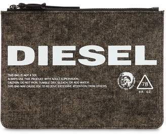 Diesel Logo Printed Washed Denim Pouch