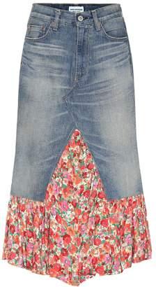 Junya Watanabe Floral crepe-trimmed denim skirt