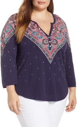 Lucky Brand Bandana Print Cotton Henley Top
