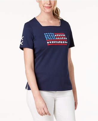 Alfred Dunner America's Cup Embroidered Square-Neck T-Shirt