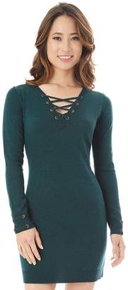 Iz Byer Juniors' Lace-Up Sweaterdress