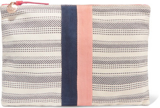 Clare V. - Striped Canvas Clutch - Cream $185 thestylecure.com