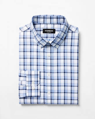 Express Classic Plaid Wrinkle-Resistant Performance Dress Shirt
